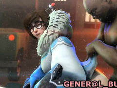 Overwatch - Mei (defense) tries to take every inch of that huge dick doggy style