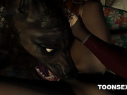 3D Brunette Licked and Fucked by a Werewolf
