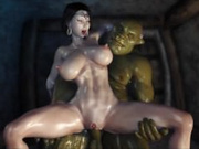 A gang of Orcs fucked busty brunette princess in anal hole