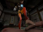Horny Tracer Gives Footjob To Big Dick