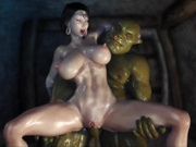 Orcs love fuck busty princess in anal hole