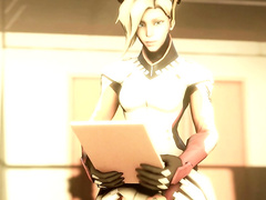 Mercy from Overwatch enjoying the nice dick