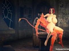 Assazel pounds a tight big titty slut