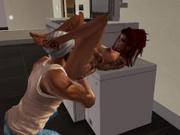 Fred et une inconnue sur la photocopieuse