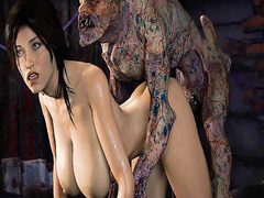Scary demons have their way with beautiful girl - Lara Croft from Tomb Raider part 21