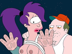 Leela Turanga from Futurama holes under attack