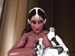 Cymmetra from Overwatch catches a massive cumshot