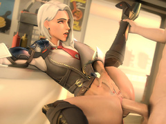 Ashe from Overwatch fucked in route 66 white
