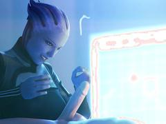 Liara (Mass Effect) handjob by FatCat17